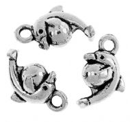 10 x Antique Silver Dolphin Animal With Ball Charm Pendants